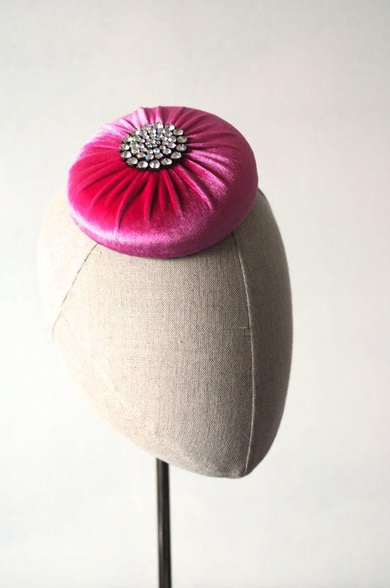 Pink Velvet Cocktail Hat Hand Blocked by MaynardMillinery on Etsy