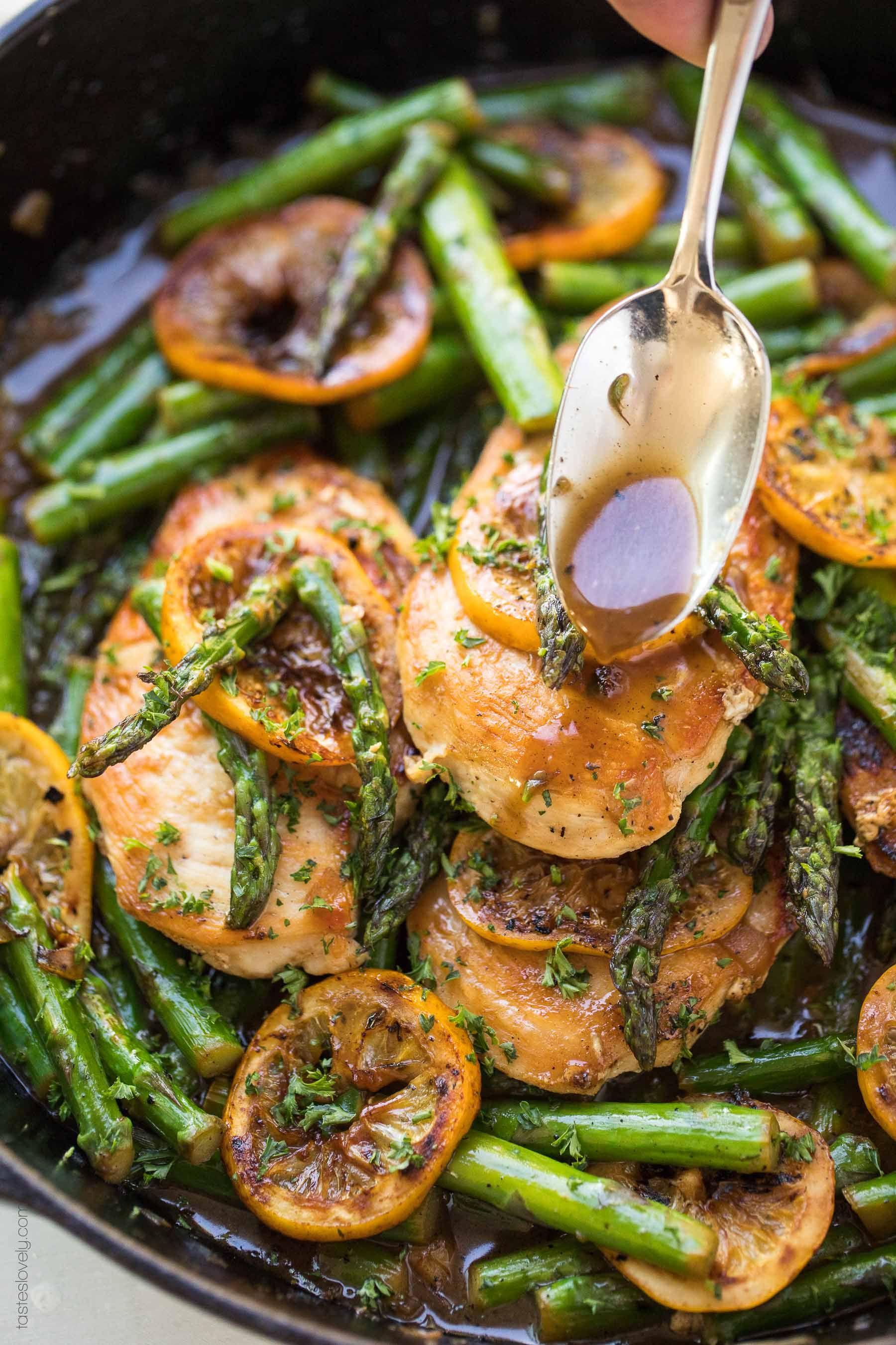 Paleo Lemon Honey Chicken & Asparagus Skillet Dinner