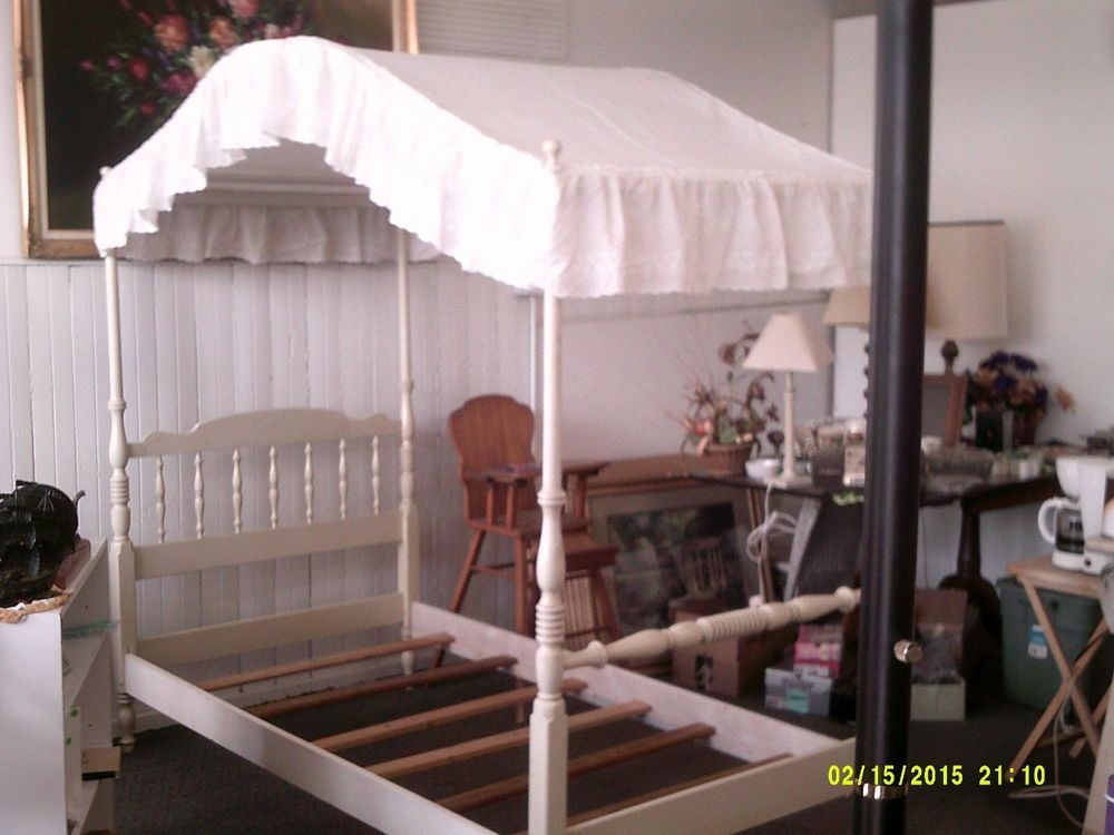 Vintage ethan allen alabaster white canopy twin bed # 5632 : canopies for twin beds - memphite.com