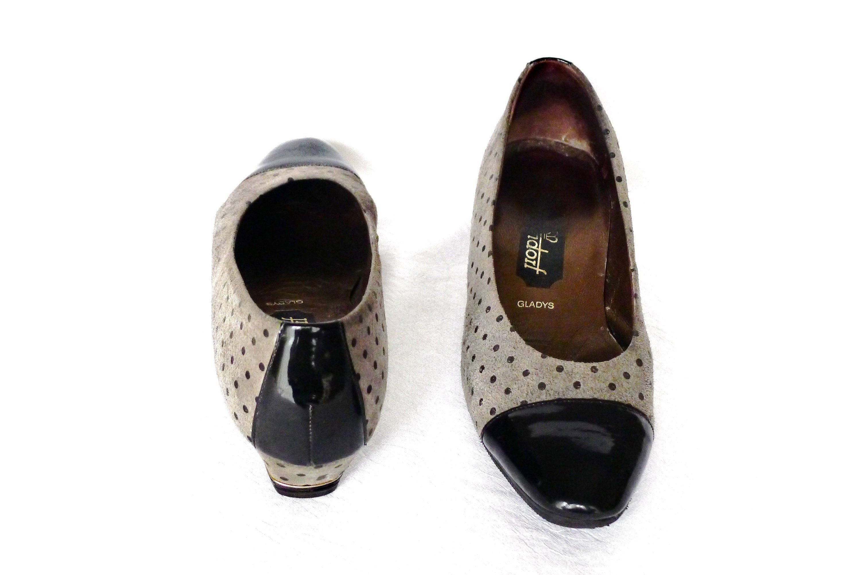 elegante Vintage Damen Schuhe, Blockabsatz, Lackspitze
