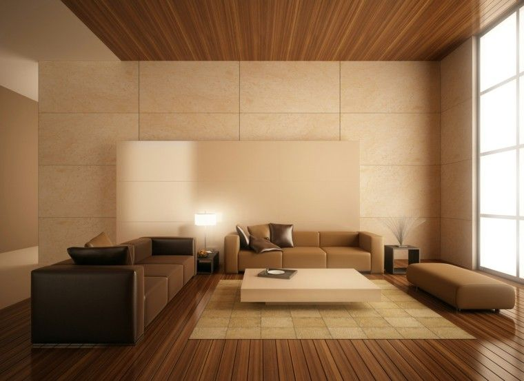 Sal n moderno con suelo y techo de madera living for Salones de madera modernos