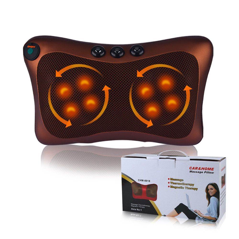 Neck Massager Shoulder Back Leg Body Massage Pillow Electric Shiatsu Spa Home/car Relaxation Pillow With Led Light Heating Beauty & Health