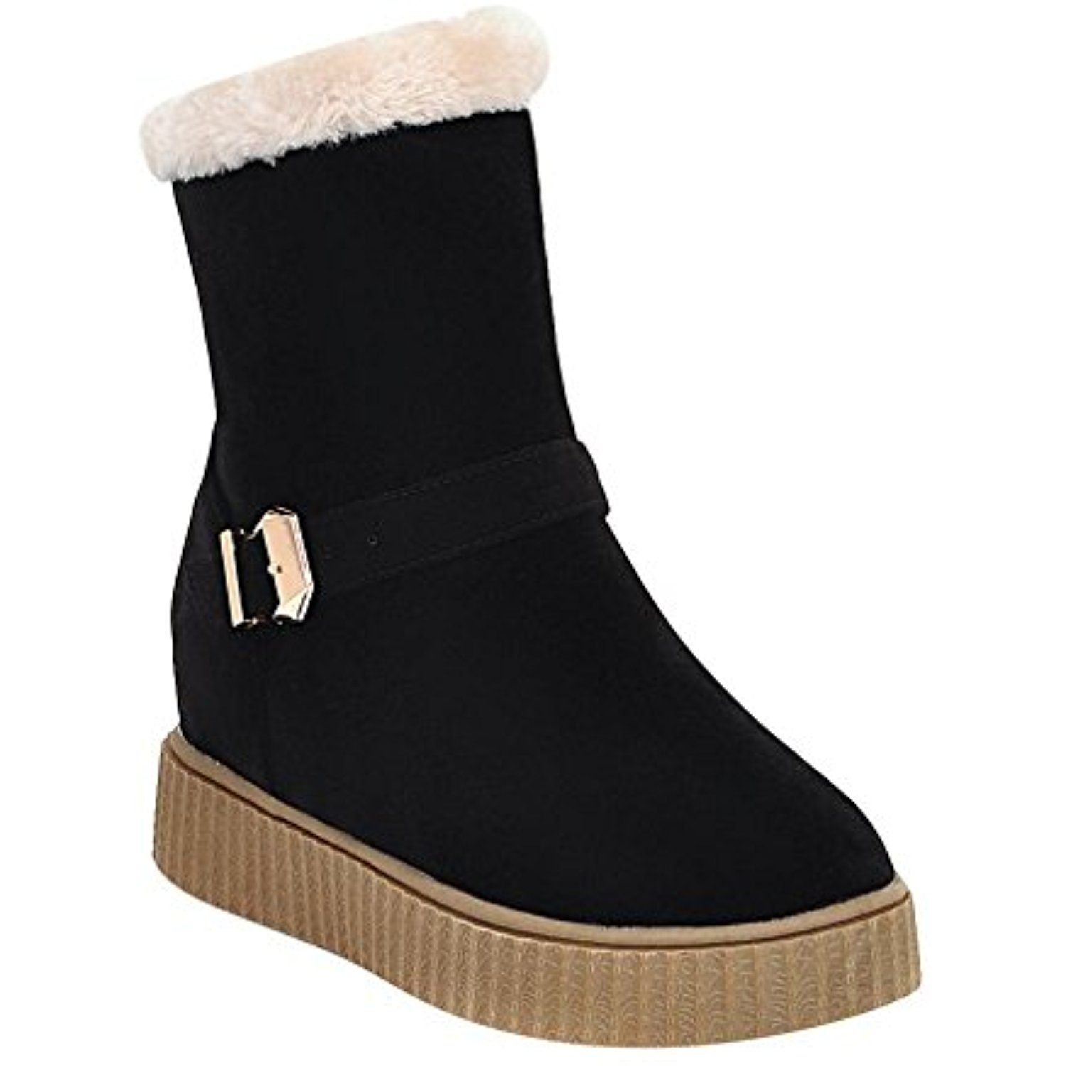 Women's Casual Platform Buckles Ankle High Snow Boots