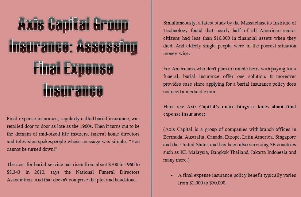 Axis Capital Group Insurance Assessing Final Expense Insurance