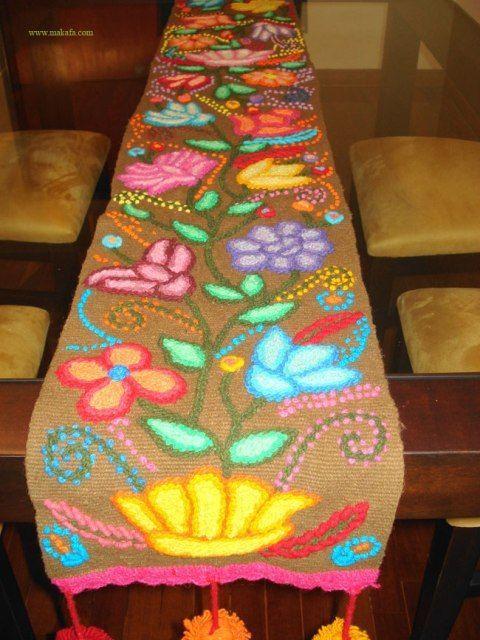 Resultado de imagen para caminos de mesa bordados con lana Ropa de