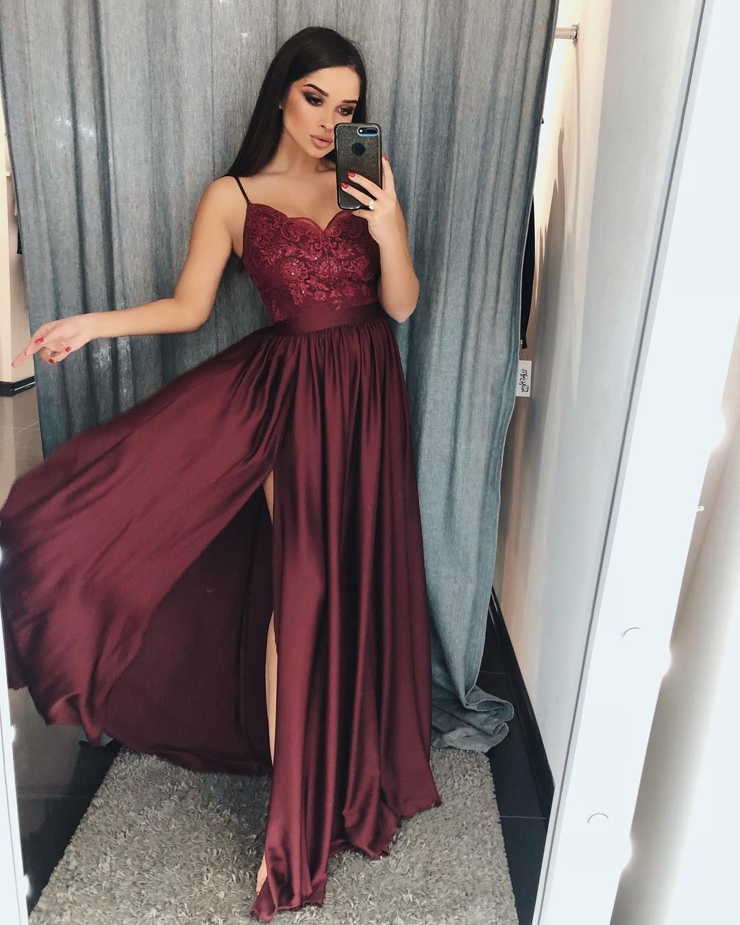 dressburgundy #dresswomen #burgundy #evening #straps #formal