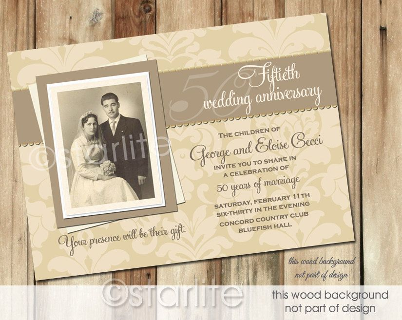 A Very Proper Antique Style Wedding Anniversary Photo Invitation With Beige Damask Pattern Choice Of Digital File You Print Option Or Printed Package 20