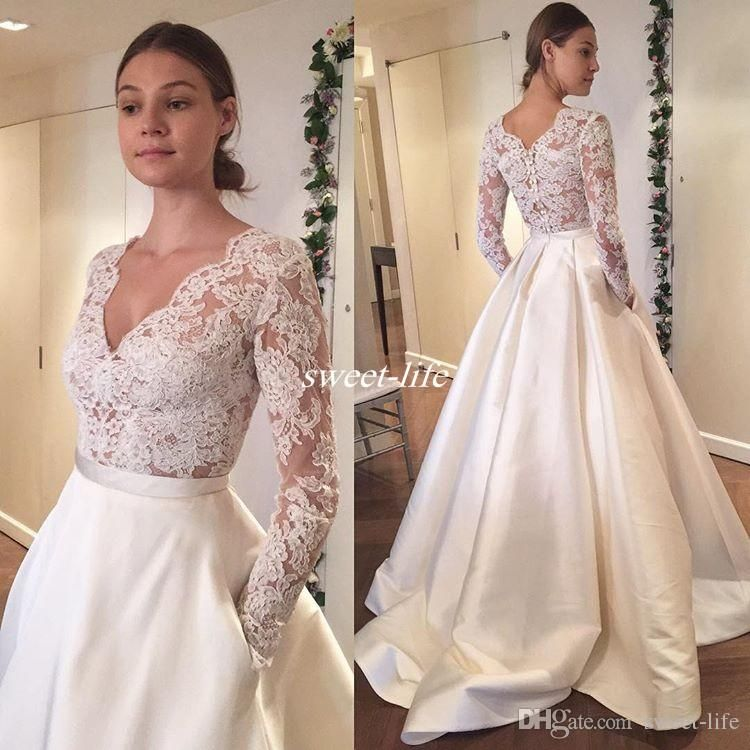 Modest cheap wedding dresses with long sleeve pockets lace for A line wedding dress with pockets