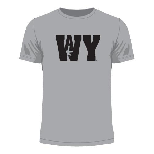 Wyoming WY AR-15 T-Shirt featuring AR15 rifle silhouette in the W of our WYOMING Gun Tees. Shirt sizes available in Youth Small through Adult 3X-Large in black, white or grey shirt colors. Nice heavyweight 5.5 oz. 100% cotton Port & Co. tagless (tag free label) t-shirt. These AR15 shirt designs are available for all 50 states!