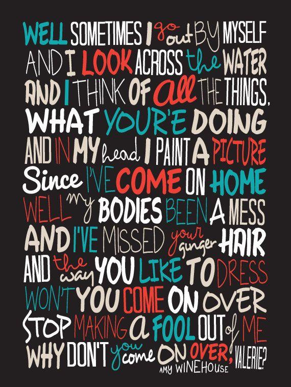 Amy Winehouse Valerie Poster Song Lyrics Print Por Lawandmoore