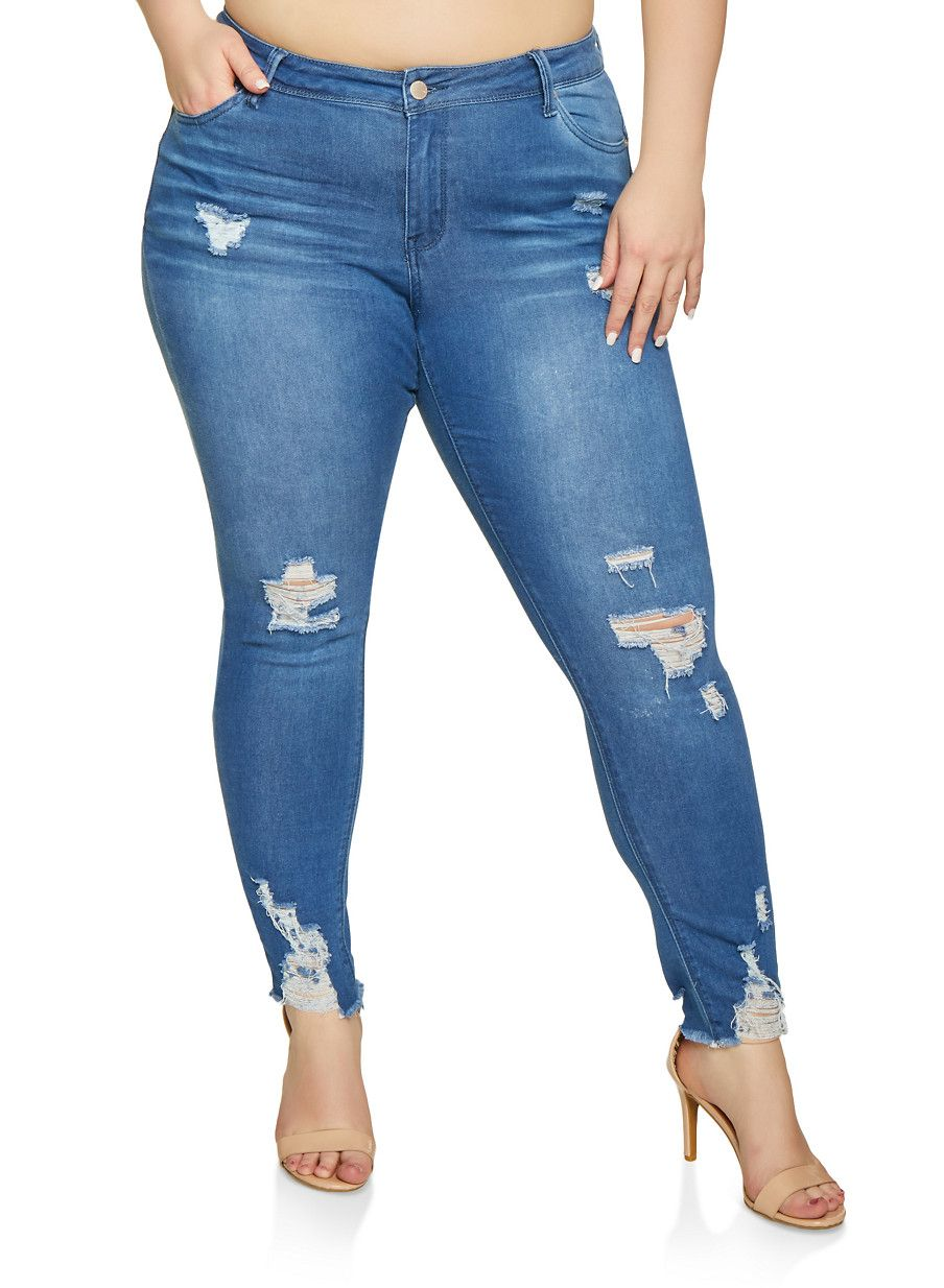 f55567a60d1 Plus Size WAX Distressed Push Up Skinny Jeans - Blue - Size 18 in ...