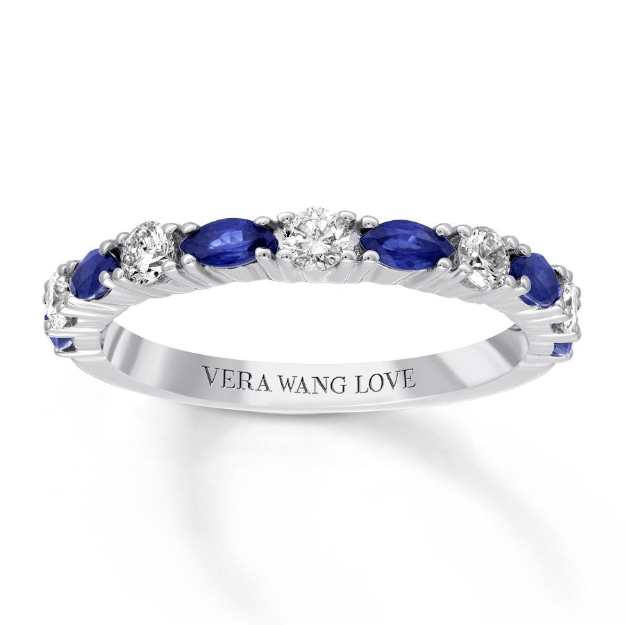 It is a picture of Vera Wang LOVE Sapphire Band 400/40 ct tw Diamonds 40040K White Gold