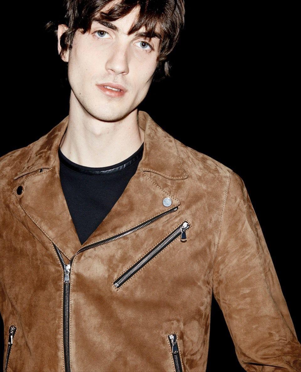 267a6f05a8 New Men's The Kooples Camel Suede Leather Biker Jacket Size M   eBay ...