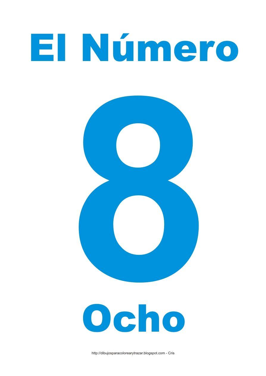 Lámina para imprimir el número ocho en color Cian | NUMEROS ...