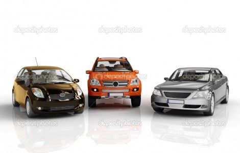Awesome Three 3d Cars Rendered On White Background Wallpaper