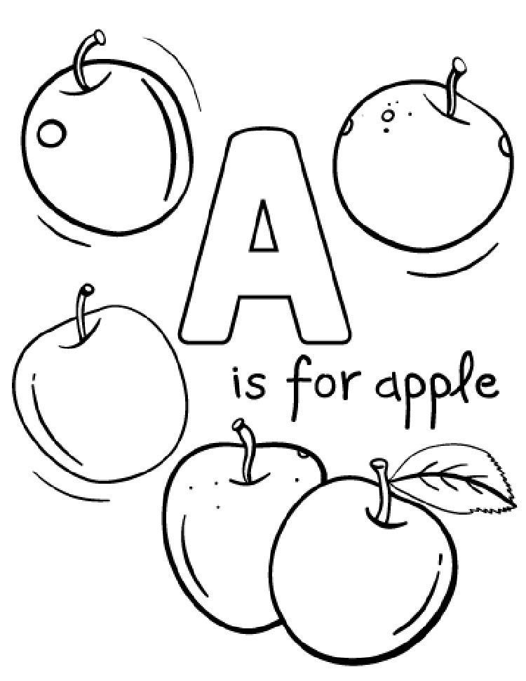 A For Apple Coloring Page Free Printable