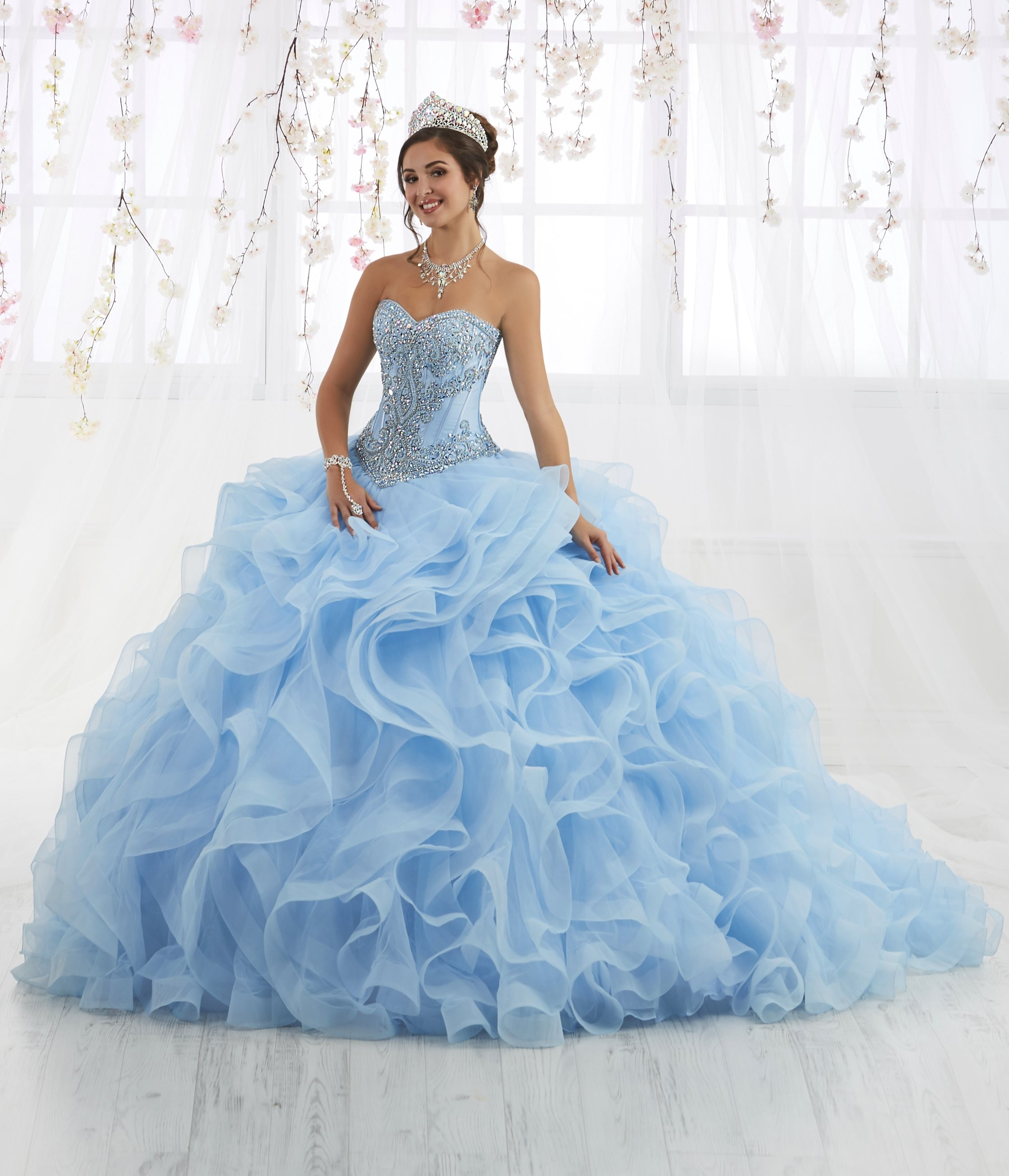 b7eb5f4ad96 Ruffled Strapless Tulle Quinceanera Dress by House of Wu 26916 in ...