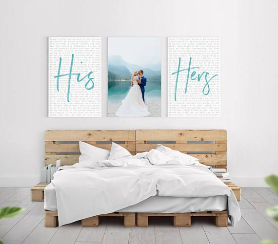 Personalized Wedding Vow Canvas Artwork Wedding Gift Anniversary Gift His And Hers Bedroom Wall Decor Above Bed Home Decor Bedroom Bedroom Art Above Bed