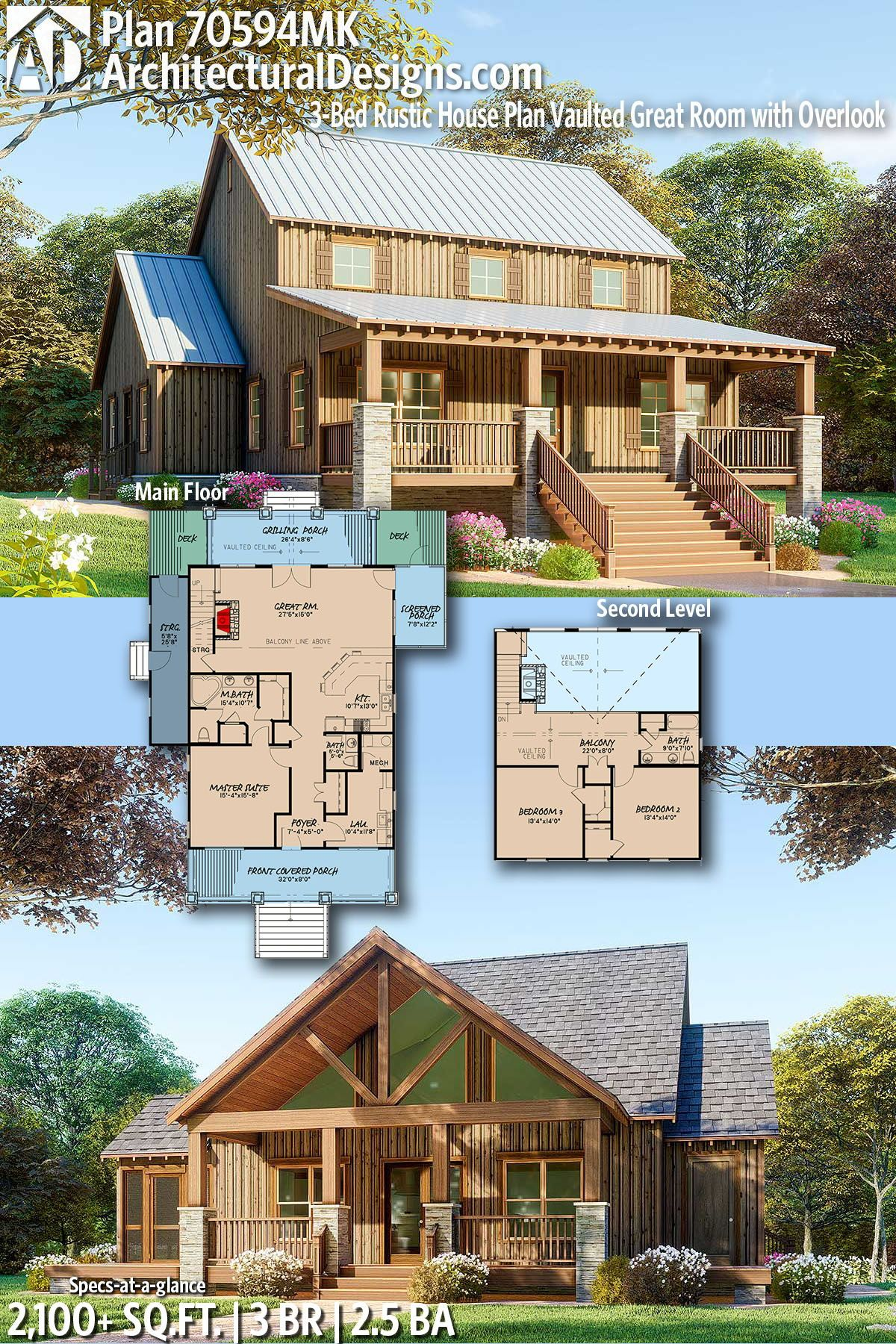 Plan 70594mk 3-bed Rustic House Vaulted Great Room