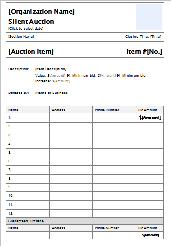 auction bid numbers template