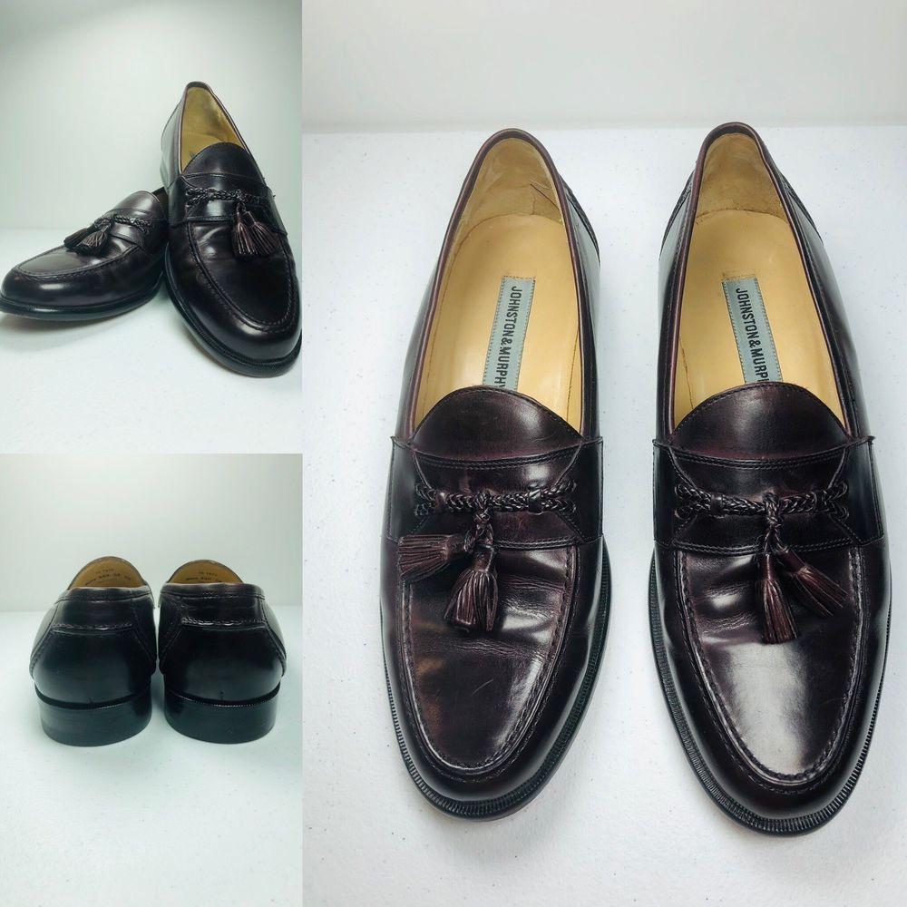 5890208e1bd7 Johnston Murphy Mens Shoes 9.5 M Burgundy Loafer Slip On Tassel 15 ...
