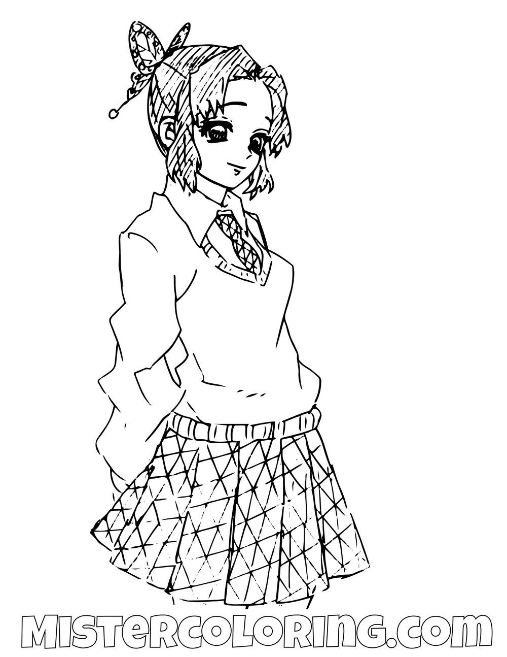 Shinobu Kocho Demon Slayer Coloring Pages For Kids Chibi Coloring Pages Noragami Anime Coloring Pages