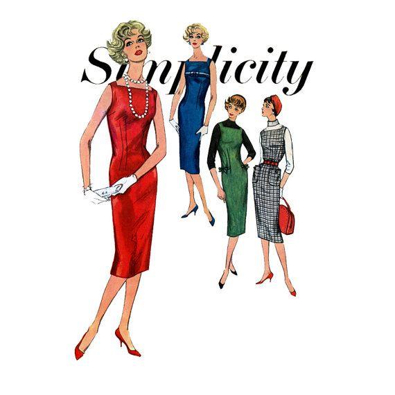 1950s Dress Pattern Simplicity 2614 Bust 34 Womens Vintage Sewing Pattern Day Evening Sheath Jumper Bateau Neckline Sleeveless Wiggle