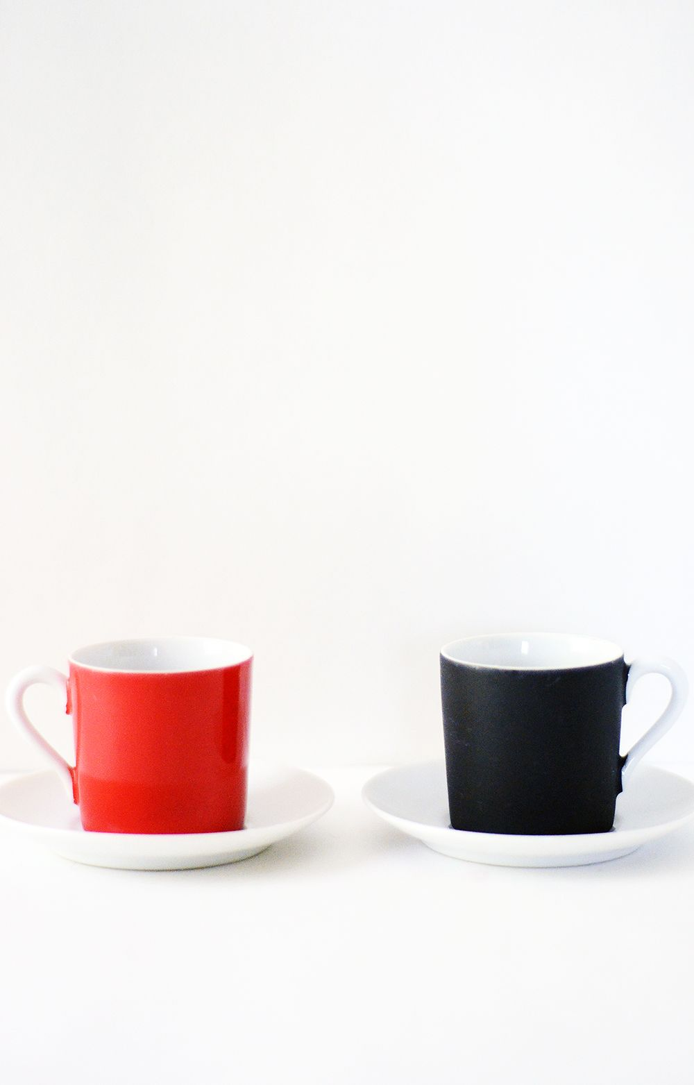 Vintage red black and white espresso cups and saucers set retro chic minimalist