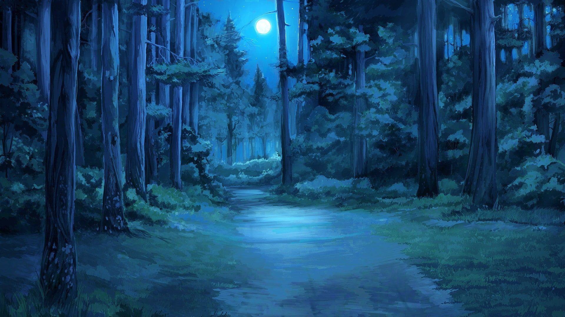 Moon Everlasting Summer Moonlight Forest Clearing 1080p Wallpaper Hdwallpaper Desktop Paysage Manga Paysage Imaginaire Art Esthetique