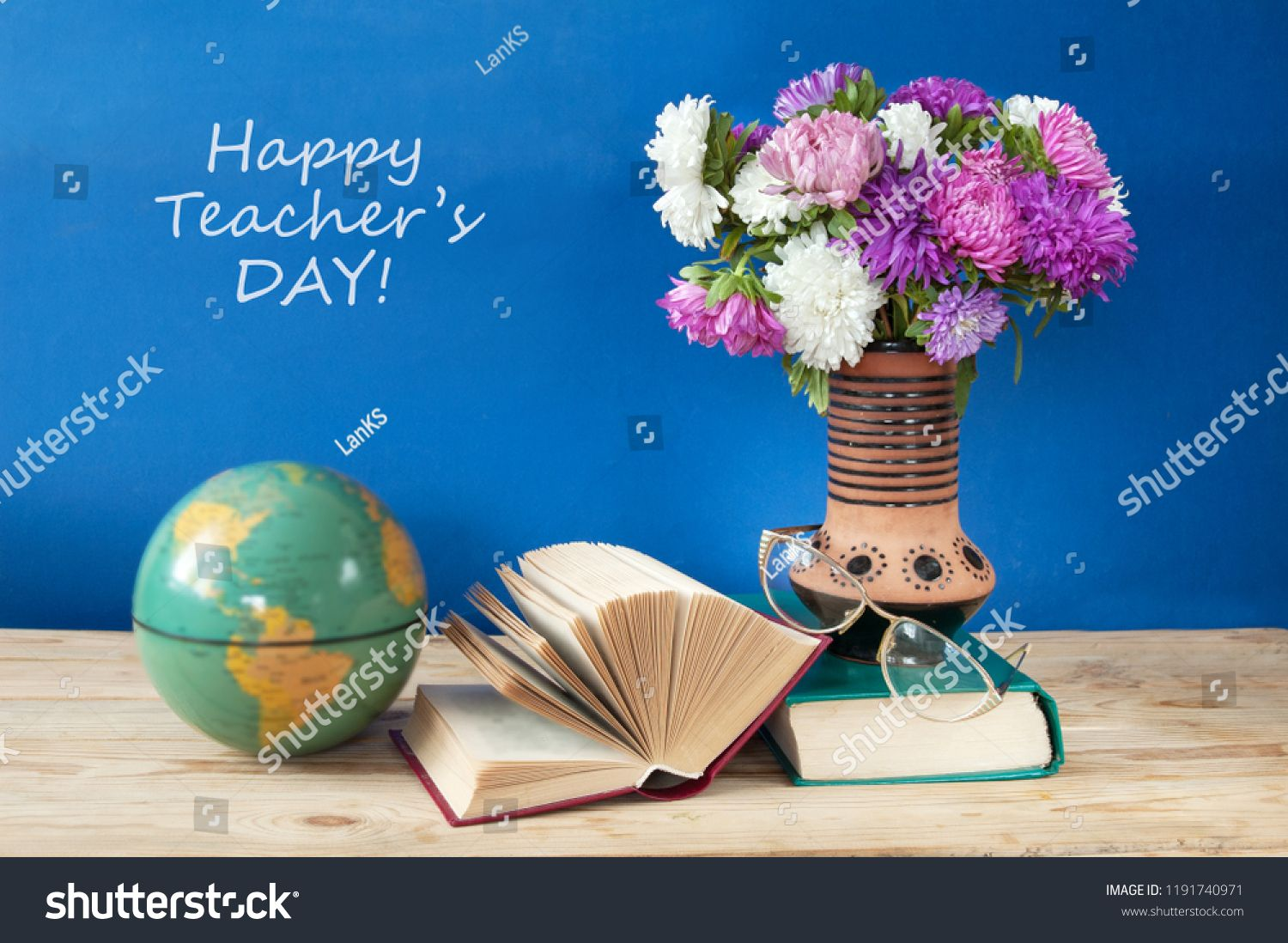 Happy Teacher S Day Still Life With Asters Bunch And Books Day Teacher Happy Life Happy Teachers Day Teachers Day Teacher