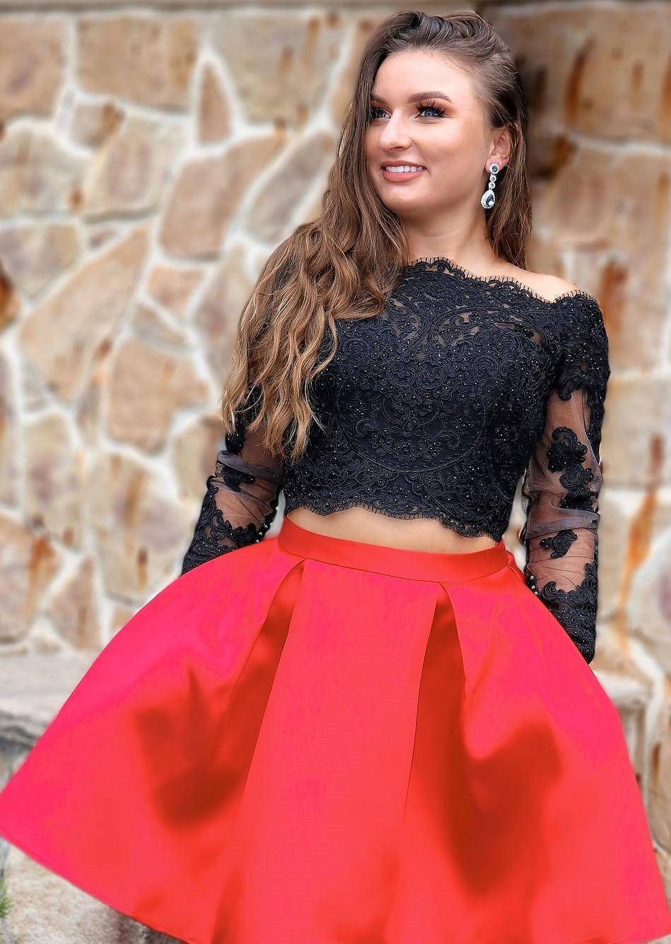 Two piece homecoming dresses long sleeves black and red homecoming