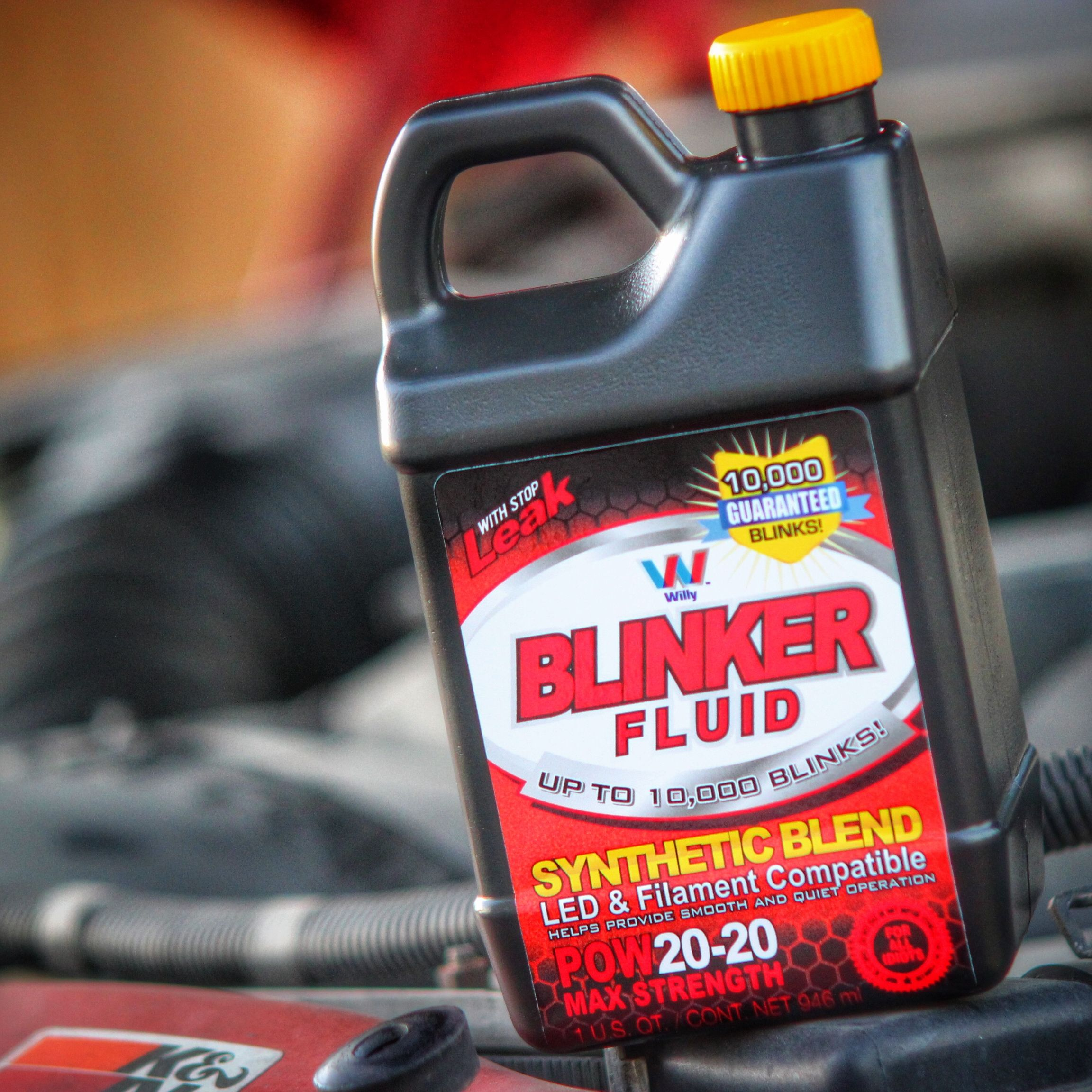 Longest lasting blinker fluid now with stop leak available at your favorite auto parts store