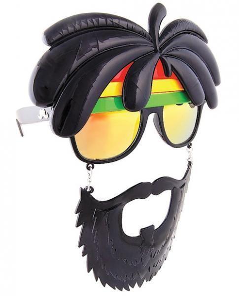 Sun Staches Rasta Sunglasses Eye Glasses Mask Halloween Jamaican Rastafarian #SunStaches