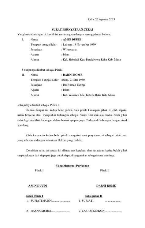 Download Kumpulan Contoh Surat Cerai Keren Ebookgratiswebid