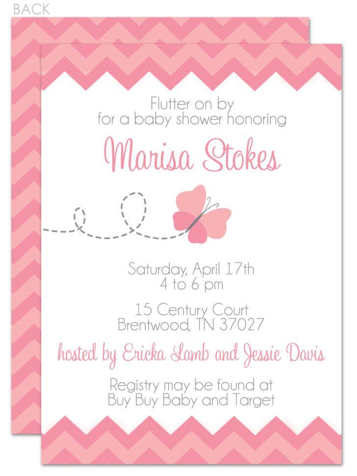 Exquisite Pastel Pink Chevron Baby Shower Invitation Template - baby shower invite templates