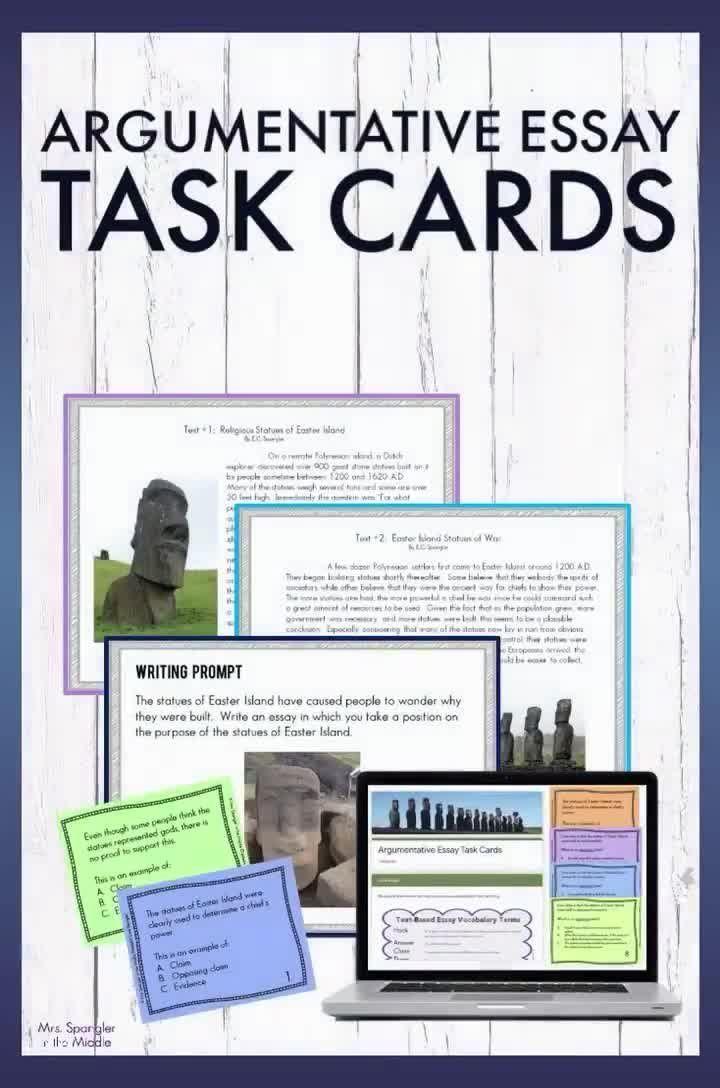 Argumentative Essay Task Cards Digital AND Printable
