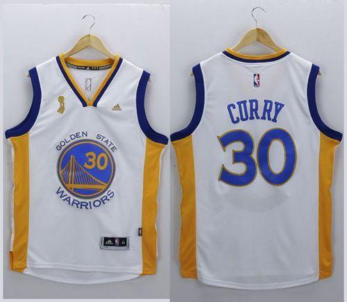 958ca9a49da Warriors #30 Stephen Curry White New Champions Stitched NBA Jersey ...