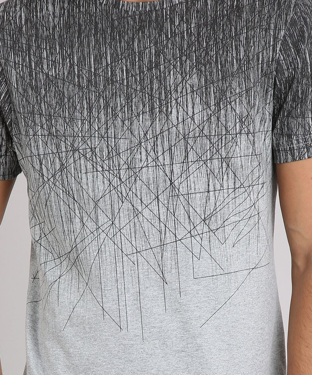 f3995db9d0 Camiseta-Masculina-Slim-Fit-Estampada-Manga-Curta-Gola-Careca-Cinza ...