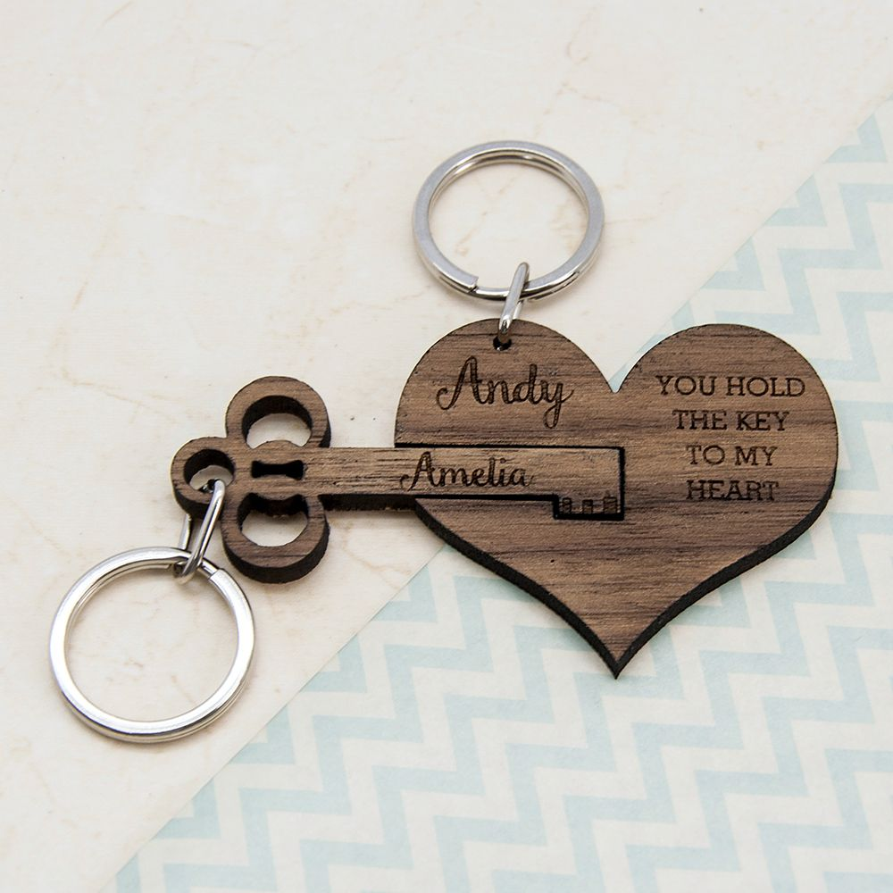 Couple's Personalized Wooden Anniversary Keychain #greatnames