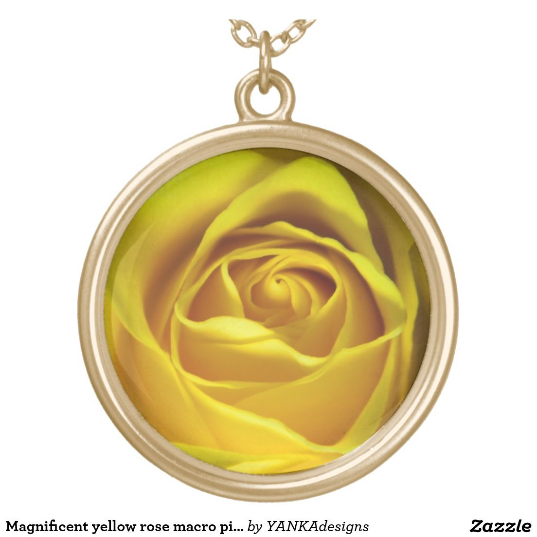 Magnificent yellow rose macro picture round pendant necklace