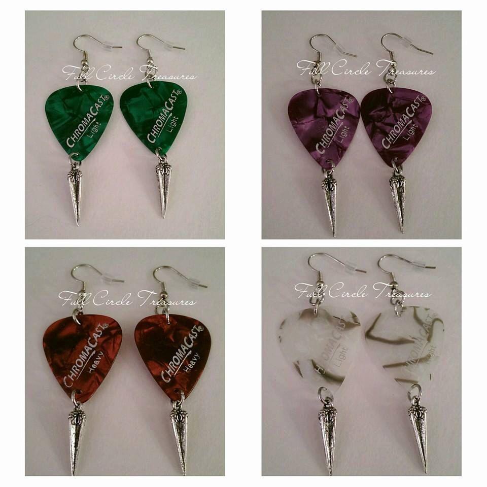 """Pearl guitar pick silver spike earrings, unique, woman, teens, rocker, emerald, purple, red, white, 2 1/2"""" Guitar pick and spike earrings by FullCircleTreasures on Etsy"""