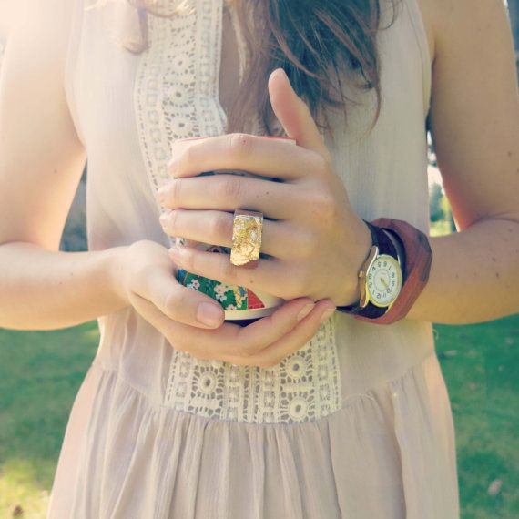 Rustic Wood & Gold Ring by IndigoOceans on Etsy