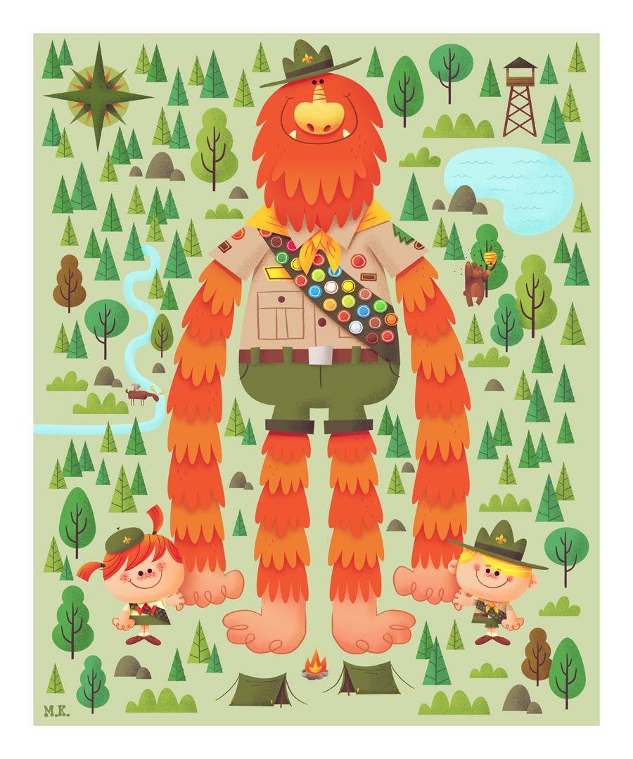 The Art Of Matt Kaufenberg Sasquatch Troop Print Now Available Character Illustration Illustration Monster Illustration