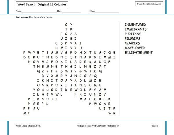 Original 13 Colonies Star Shaped Word Search – Thirteen Colonies Worksheets