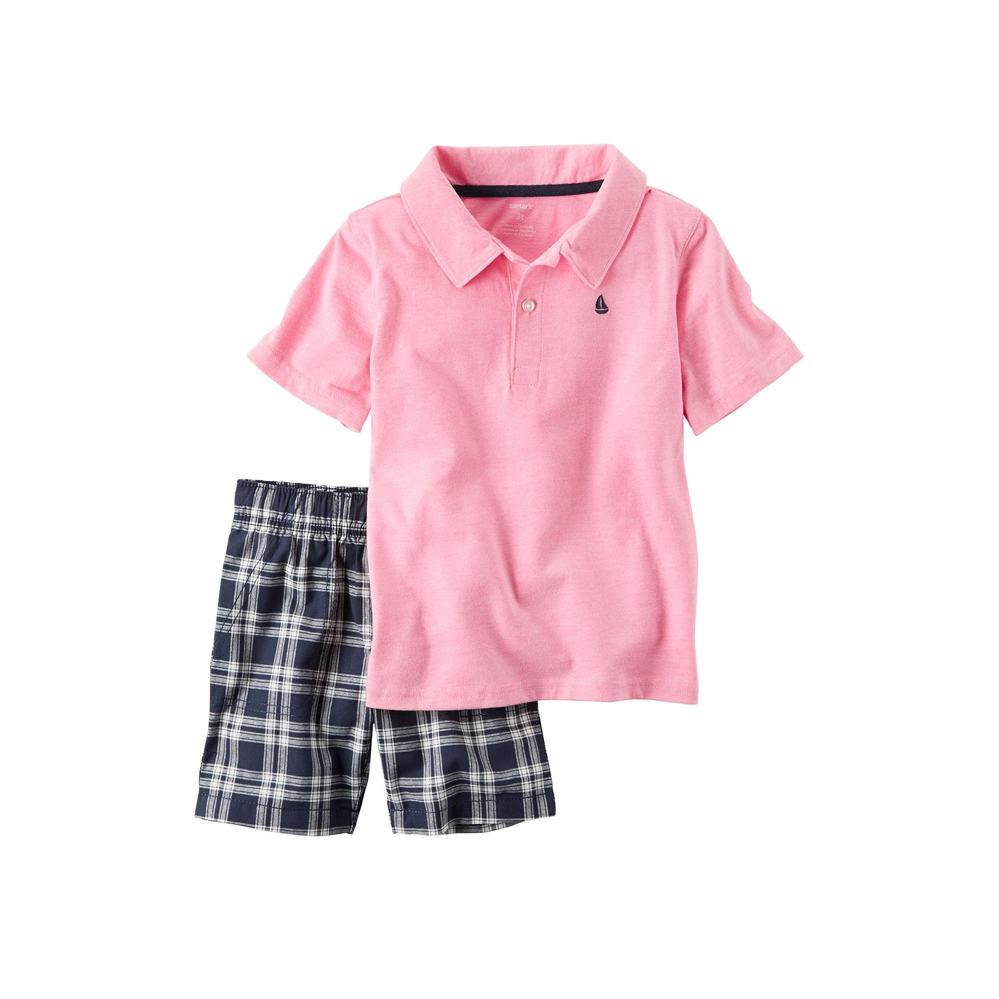 4f1ed15b8 Toddler Boy Carter's Short Sleeve Pink Polo Shirt & Plaid Shorts Set, Size:  4T