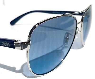 NEW* COACH HC7077 SILVER /& Blue 58mm Aviator Blue Lens Sunglass L1015
