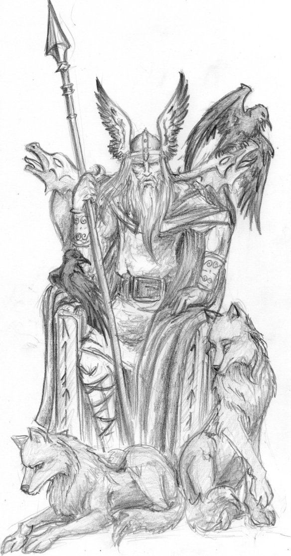7ffcd57ee858f Some Info On Odin | Vikings | Viking drawings, Mythology tattoos ...