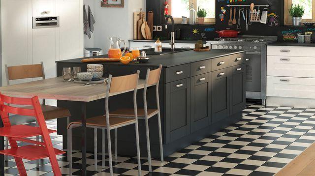 Am nagemer une cuisine ouverte en longueur pas cher for Table ilot centrale