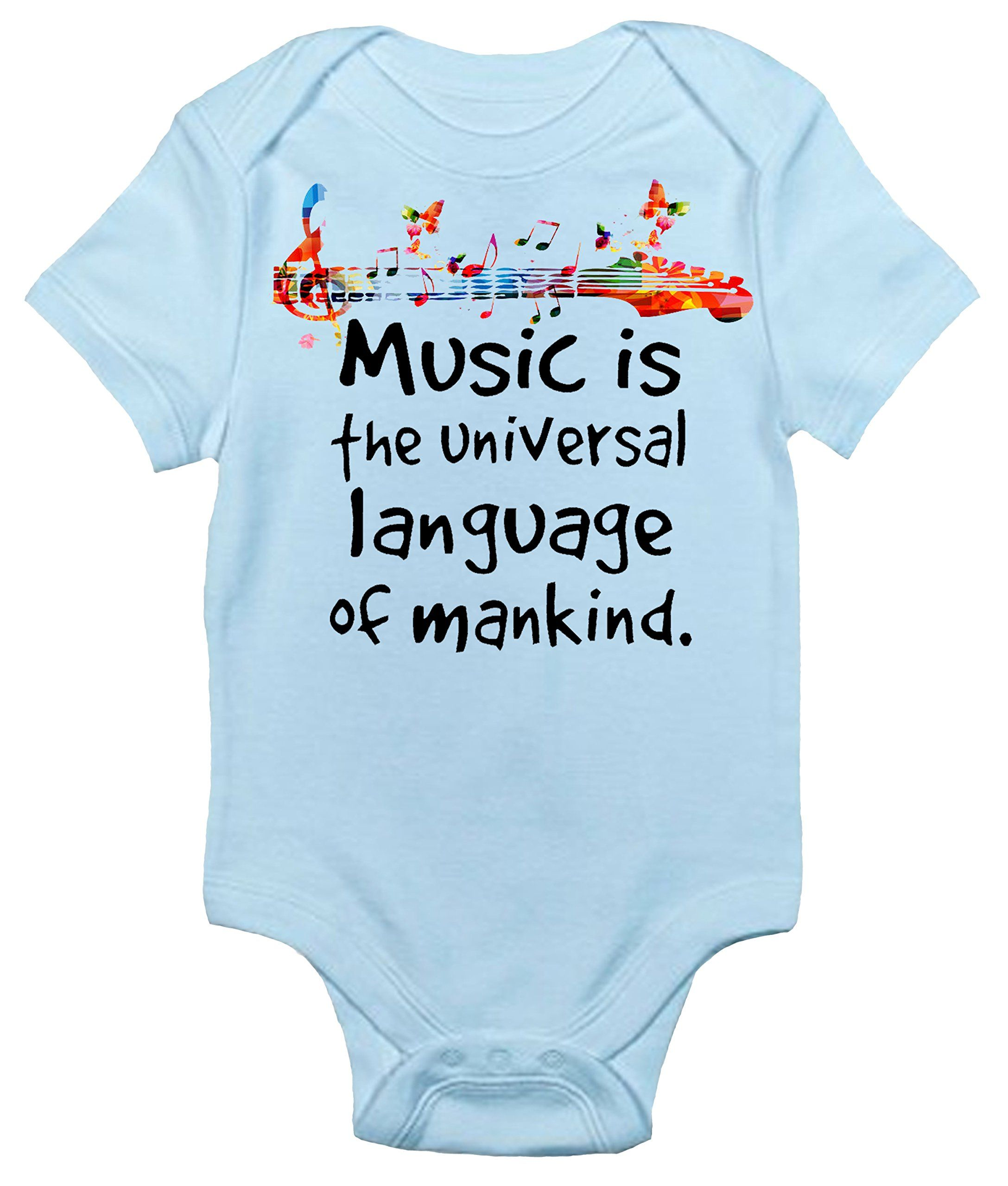 Music Is The Universal Language Of Mankind Baby Bodysuit Cute Baby