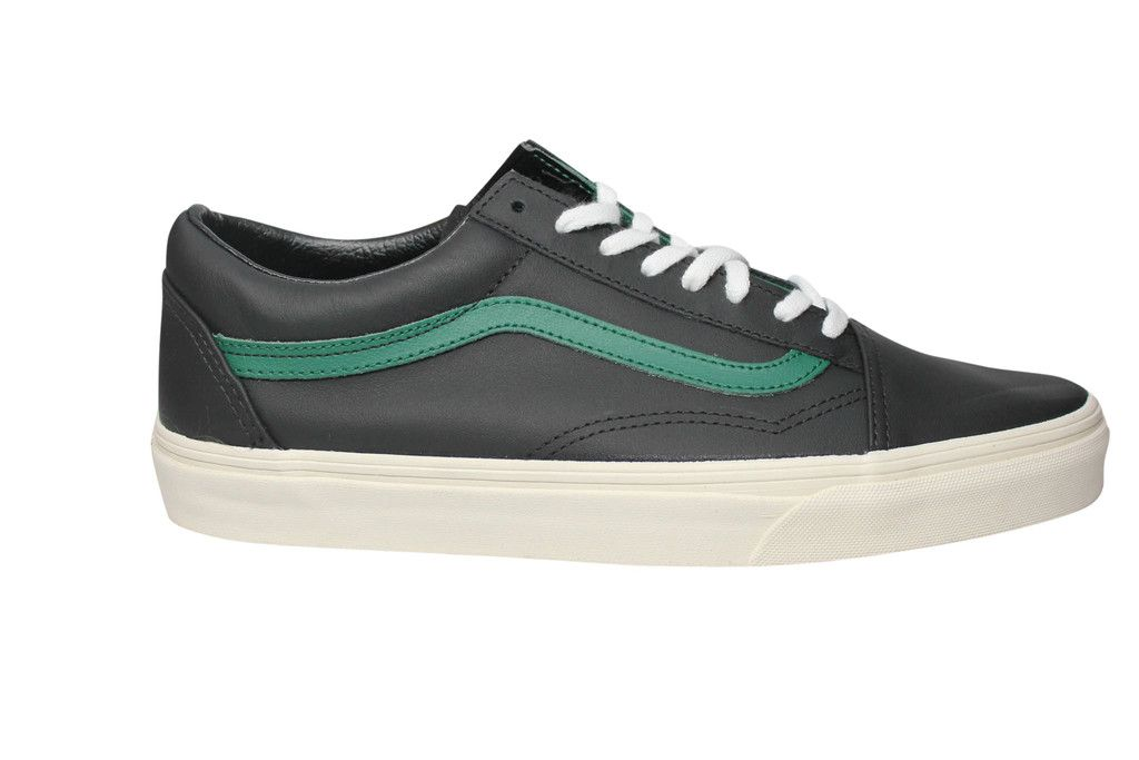 8a1ab3fc4bb686 Pictures of Vans Old Skool Matte Leather Black  Verdant Green Skateboard  Sneakers